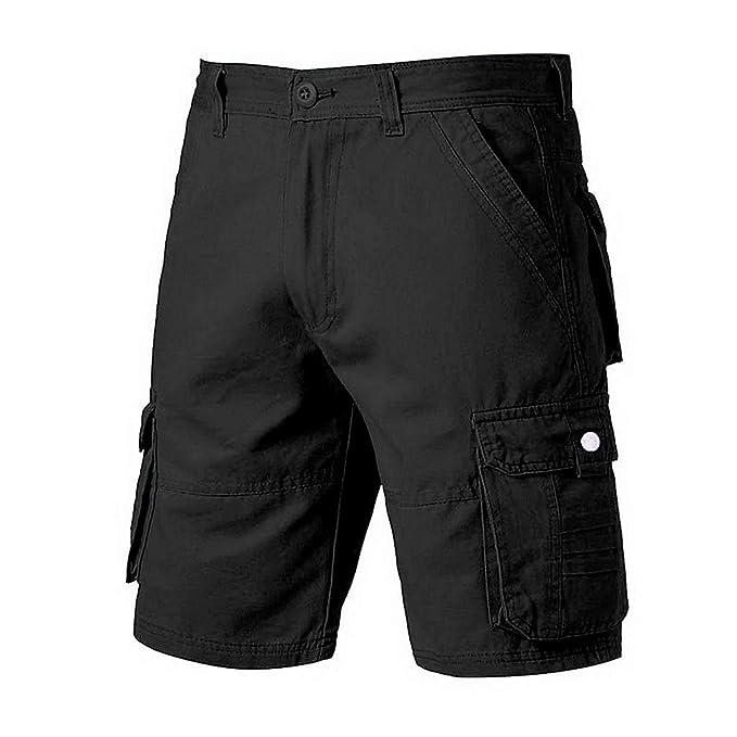 0ed74430a7e88 YKARITIANNA Men s Fashion Casual Cotton Pocket Solid Outdoors Work Trouser  Cargo Short Pants Black