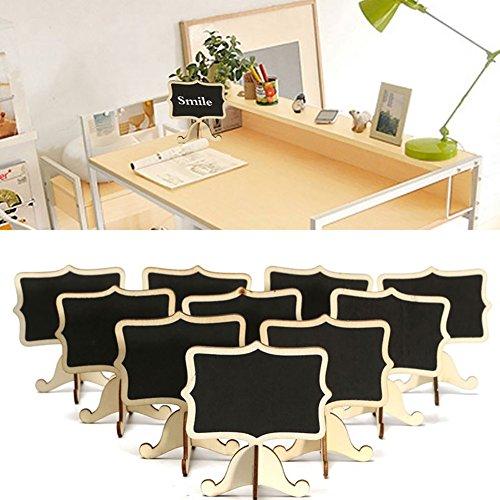 856store Novelty 10Pcs Wooden Blackboard Chalkboard Message Wedding Party Labels Mini Table Decor - Wood Color