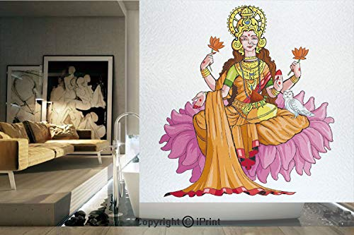 Decorative Privacy Window Film/Figure Sitting on Lotus Flower Mythology Fortune Tradition Divinity Culture Blessing/No-Glue Self Static Cling for Home Bedroom Bathroom Kitchen Office Decor Multicolor