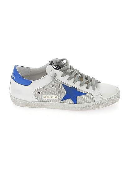 GOLDEN GOOSE G34MS590M99 Hombre Blanco/Azul Cuero Zapatillas: Amazon.es: Zapatos y complementos