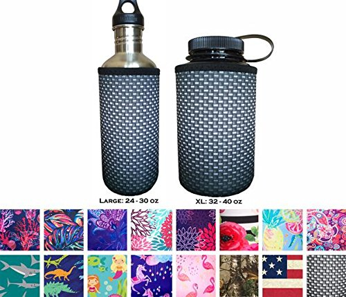 Water Bottle Koozies - KOVERZ Neoprene 24-30 oz Water Bottle Insulator Cooler Coolie - Carbon Fiber