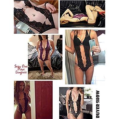 Avidlove Women Deep V Lingerie Lace Babydoll Mini Bodysuit: Clothing