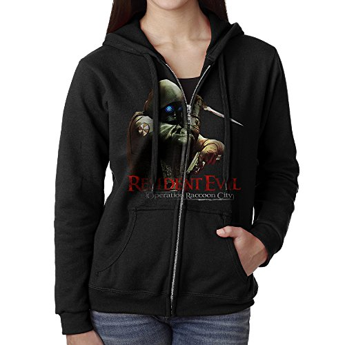 JHKM Women's Resident Evil Operation Raccoon City Zip-Up Hoodies Jackets Black Size M