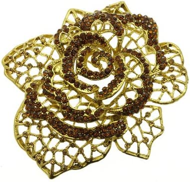 Mayas Grace Crystal Stone Metal Flower Pin and Brooch Brown