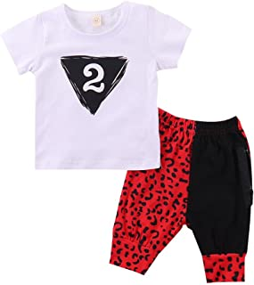 Fashion Baby Boys Kids Letter Print Tshirt and Leopard Print Zipper Long Pants 2PCS Summer Spring Autumn Outfits Clothes Set