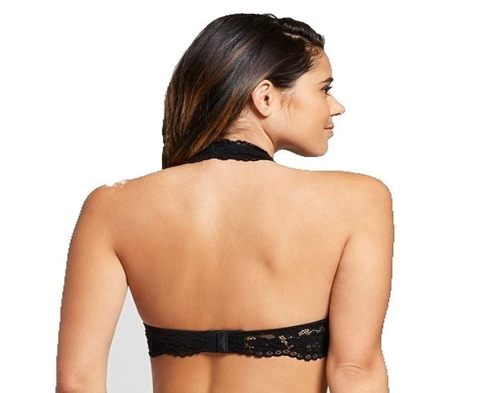 6bee2e8489c2b Xhilaration Women s Padded Lace Halter Bralette at Amazon Women s Clothing  store