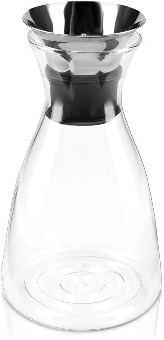 Carafe Eau jus th/é vin Pichet 1L avec Couvercle filtrant en Acier Inoxydable Navaris Carafe deau en Verre Borosilicate thermor/ésistant