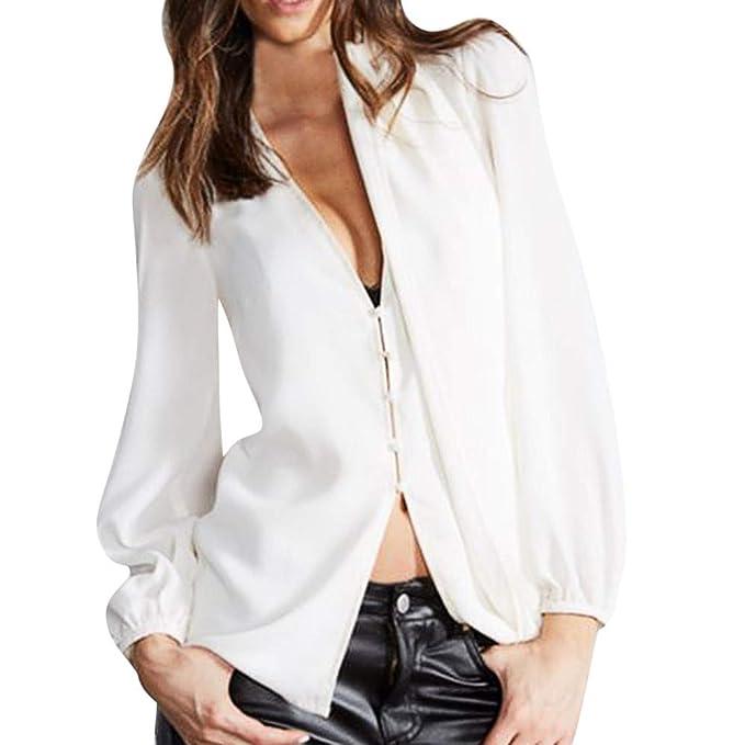 Luckycat Blusa Blusa de Manga Larga de botón Blusa de Manga Larga para Mujer (Blanco
