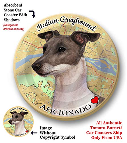 (Italian Greyhound) Pet Gifts Coaster Buddies, Dogs & Cats, Car & Truck Cup holder, Absorbant Ceramic, 2.65 Inch Size ()