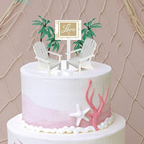 Love Sign with 2 White Small Mini Decorative Adirondack Plastic Beach Chair Wedding Anniversary Cake Decoration Toy Toppers]()