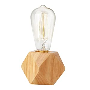 Agirlvct Vintage Edison Bulb Table Lamp Base,Industrial Wooden Desk Lamps,Nightstand Bedside Bed Dimmable Night Light for Living Room Bedroom Cafe Restaurant Loft Nordic Style Home Decor
