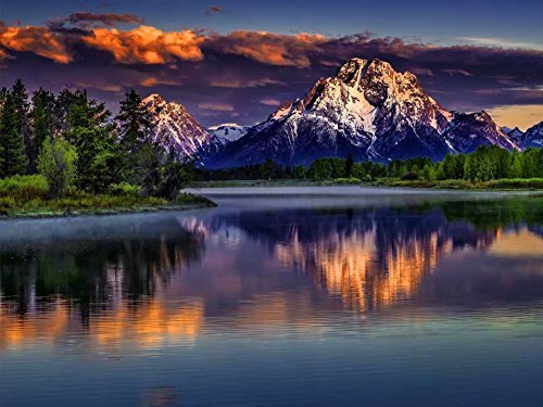 Grand Teton National Park -Oil Painting On Canvas Modern Wall Art Pictures For Home Decoration Wooden Framed (20X16 Inch, Framed) ()