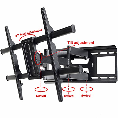 """VideoSecu MW380B3 Full Motion Articulating TV Wall Mount Bracket for most 37""""-70"""" LED LCD Plasma HDTV up to 165 lbs with VESA 684x400 600x400 400x400 200x200mm, Dual Arm pulls out up to 16"""" AW8"""