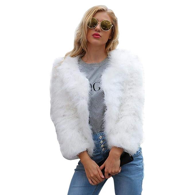 Mujer Invierno Abrigo Piel Sintética, Biback Chaqueta Mujeres Shaggy Faux Fur Coat chaqueta Outwear Chaquetas