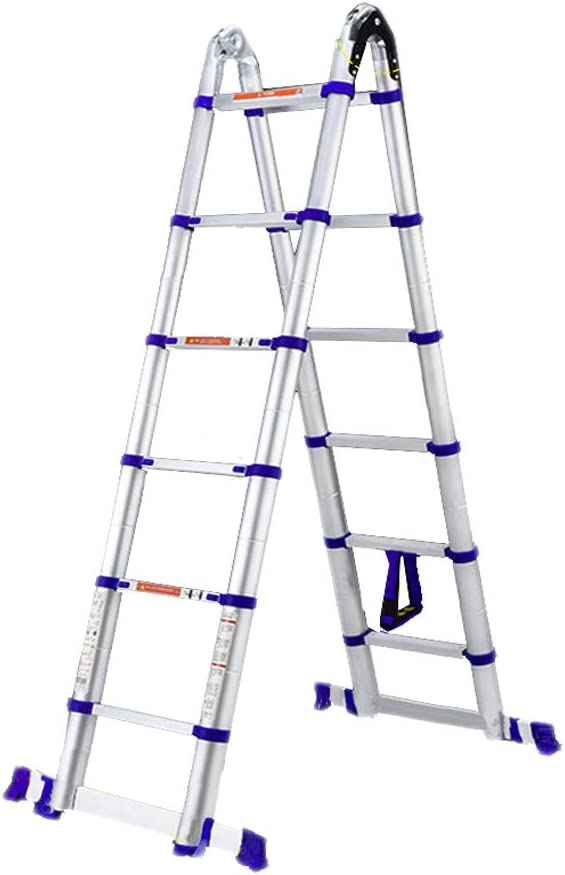 LPZ Escalera de Tijera Escalera telescópica multifunción Escalera Recta Escalera de Espiga Grueso Aleación de Aluminio Alta Temperatura Fuerte Un botón telescópico (Size : 1.65+1.65=4.6m): Amazon.es: Hogar