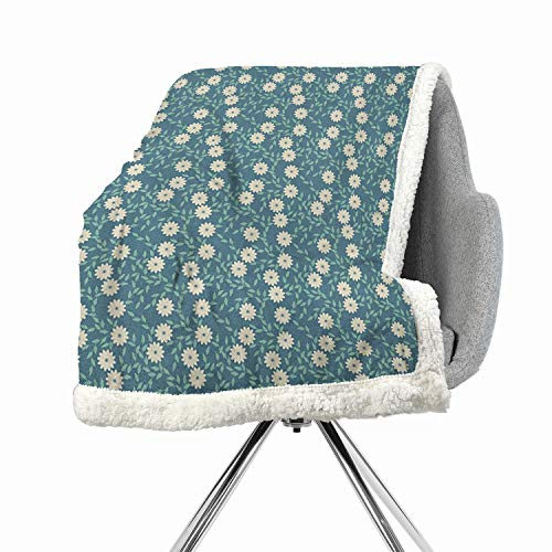 (Khakihome Ivory and Blue Light Thermal Blanket 60 by 32 Inch for Bed, Couch, Sofa, Chair Turquoise Teal and IvoryChamomile Flowers Pattern Romantic Feminine Exotic Foliage)