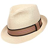 Sedancasesa Unisex Fedora Straw Sun Hat Paper Summer Short Brim Beach Jazz Cap