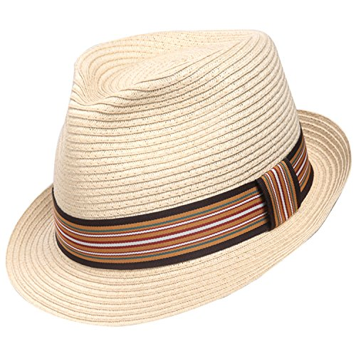 Sedancasesa Unisex Fedora Straw Sun Hat Paper Summer Short Brim Beach Jazz Cap -