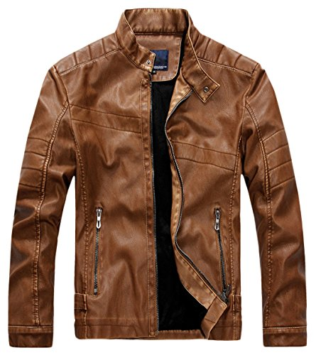 chouyatou Men's Vintage Stand Collar Pu Leather Jacket (Large, - American Leather Collar