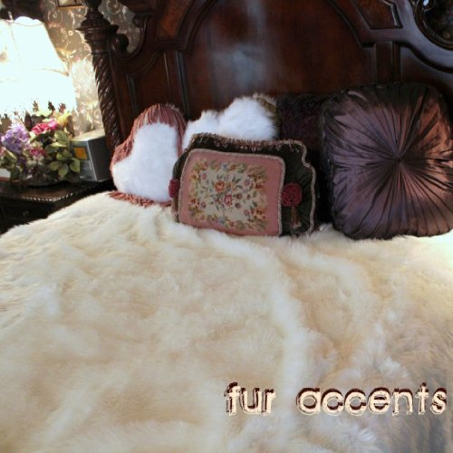 Fur Accents Faux Fur Queen Size Bedspread / Throw Blanket / Off White 90'' X 96'' Queen Size