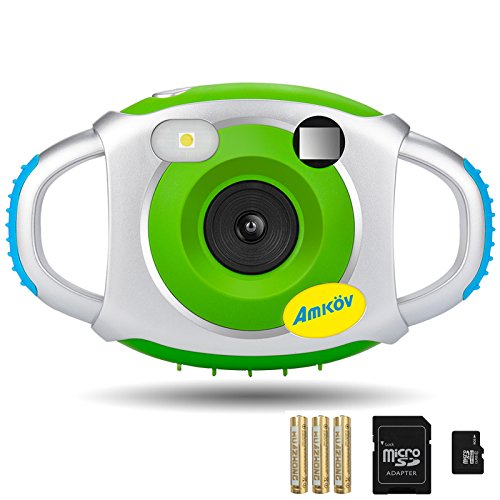 Digital Camera for Kids, AMKOV Kids Camera, 1.44 Inch Full-Color TFT Display Kid Video Camera, Green (kids camera with memory card) by AMKOV