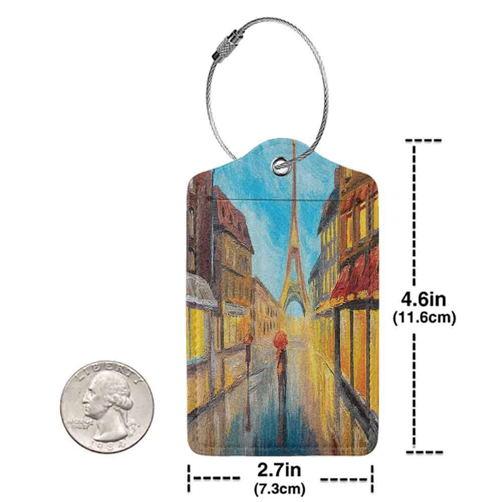 Soft luggage tag Lakehouse Decor Collection Couple with an Umbrella Walking on a Historical Street to Eiffel Tower Paris France Romantic Evening Bendable Dark Orange Blue W2.7 x L4.6