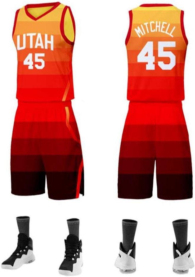 Transpirable Tela Alero LLZYL Baloncesto Jersey NBA Donovan Mitchell # 45 Traje Adulto De Utah Jazz Ni/ños Jersey Baloncesto Tops Y Pantalones Cortos