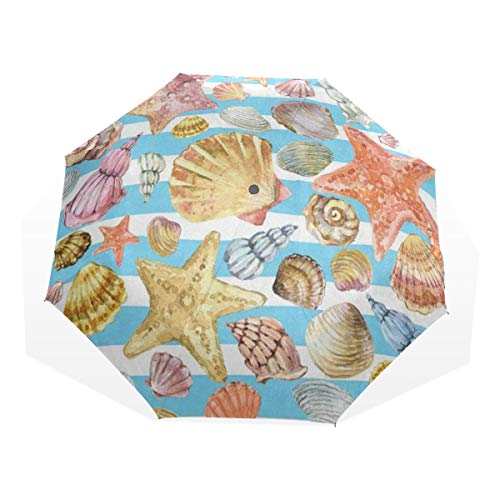 - Umbrella Retro Starfish Seashell On Striped Travel Golf Sun Rain Windproof umbrellas with UV Protection for Kids Girls Boys