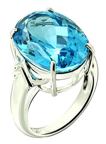 Sterling Silver 925 STATEMENT Ring GENUINE SWISS BLUE TOPAZ 22 Carats with RHODIUM-PLATED Finish (6, swiss-blue-topaz) by RB Gems (Image #5)