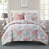 """Style Domain OZR02UA47COT Starling 5Piece Comforter Set, King,Coral/Turq,King 101""""X86"""" offers"""