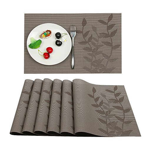 Furnily Placemats Set of 6 Heat-resistant PVC Placemats for Dining Table Leaf Woven Vinyl Stain Resistant Washable Table Mats (6, Brown) (Set Sc03)
