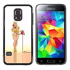 Teléfono Sexy Babe Pin Up Piernas Teléfono- Metal de aluminio y de plástico duro Caja del teléfono - Negro - Samsung Galaxy S5 Mini (Not S5), SM-G800