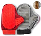 2-Pack Bundle Pet Grooming Massage Glove and Brush Glove for Dematting and Shedding on Furry Dogs and Cats with Long and Short Hair