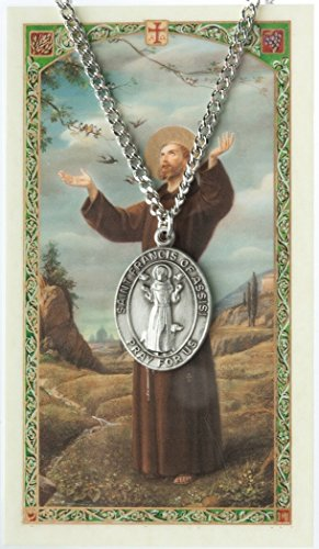 Patron and Protector Medals Pewter Saint St Francis of Assisi Medal with Laminated Holy Card, 1 1/16 Inch
