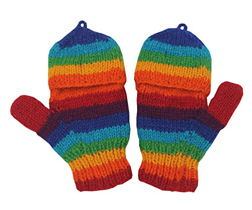 Rainbow Fingerless Gloves (KayJayStyles Hand Knit 100% Wool Convertible Fingerless Mittens Glove Nepal (Rainbow 1))
