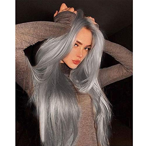 Vedar Flawless Hairline Smokey Grey Lace Front Wigs Fashion Silver Grey Hair Deep Grey Synthetic Lace Wig Silky Hair Soft Touching Straight Wigs Middle Parting 24 inch ()