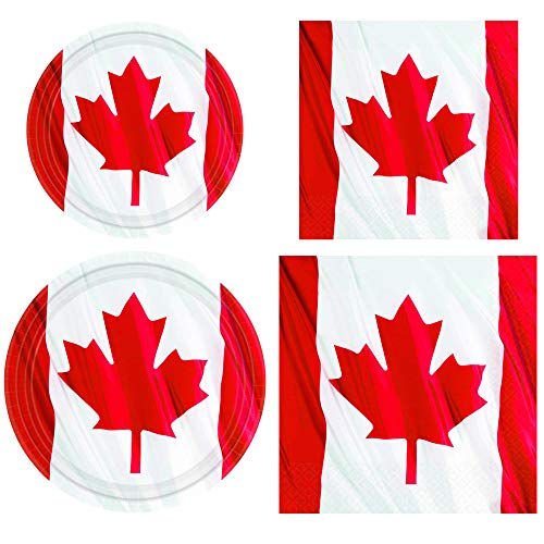 Fun Express Canada Waving Flag Party Bundle | Luncheon & Beverage Napkins, Dinner & Dessert Plates | Great for Reunions, Patriotic Party, Veterans Celebration