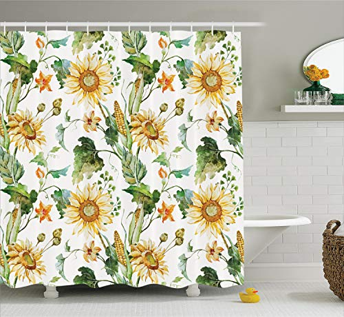 Ambesonne Sunflower Decor Collection, Sunflowers and Corn Pattern Agriculture Cultivating Nature Art Close Up Design Print, Polyester Fabric Bathroom Shower Curtain, 75 Inches Long, Soft Green Yellow