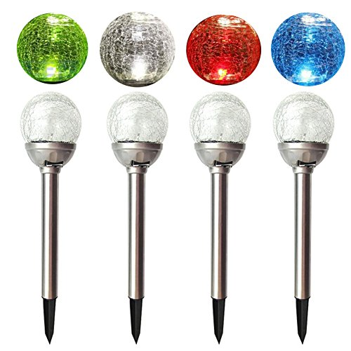 2 Colour Changing Led Stainless Steel Solar Stake Lights: DE-Spark Crackle Ball Solar Lights Outdoor