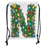 OQUYCZ Drawstring Sack Backpacks Bags,Letter N,Capital N in Green Color with Coniferous Leaves Bells Bowknots Hearts and Stars Decorative,Multicolor Soft Satin,5 Liter Capacity,Adjustable Stri