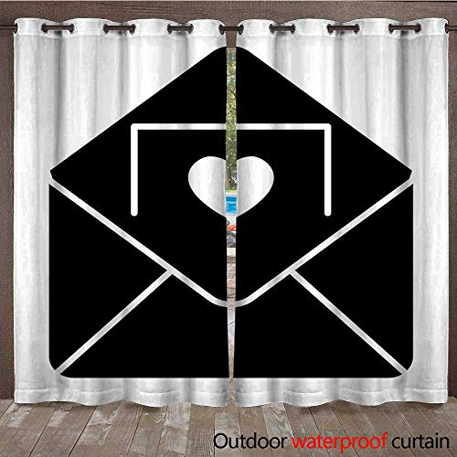 RenteriaDecor Home Patio Outdoor Curtain Envelope with Invitation Card Solid icon Letter Vector Illustration Isolated on White Invitation with a Heart Glyph STYL W72 x L108