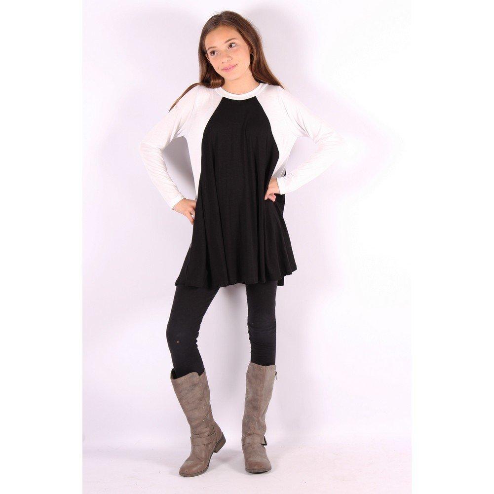 Lori/&Jane Girls Black White Two-Tone Flared Long Sleeve Trendy Top 6-14
