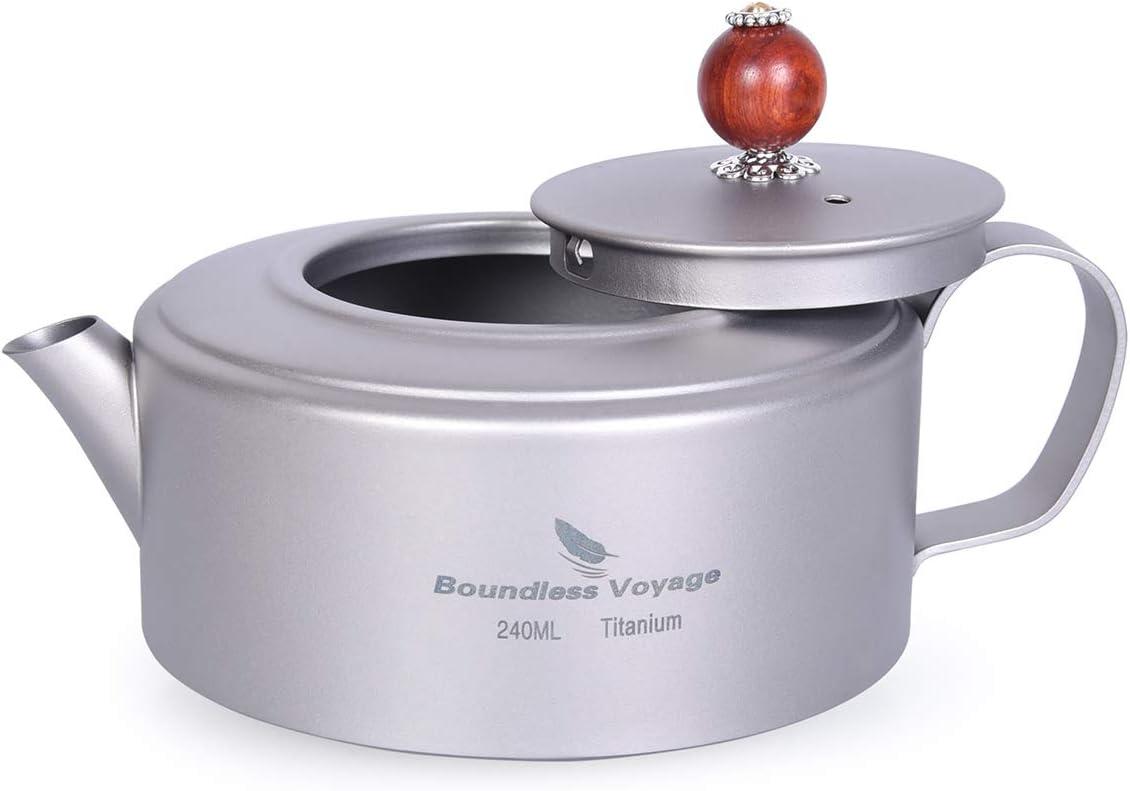 Boundless Voyage Hervidor de té de Titanio Cafetera de Agua para Cocina de inducción Cantina Vino Tetera Tetera Vajilla de Exterior con Bolsa de Malla Ti15135B: Amazon.es: Deportes y aire libre