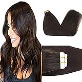 Googoo 18inch Tape in Hair Extensions Dark Brown Remy Straight Natural Hair Extensions Tape in Human Hair Skin Weft 50g 20pcs