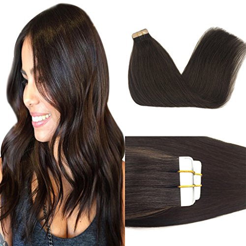 Googoo 22inch Human Hair Extensions Tape in Dark Brown 100% Remy Hair Extensions Silky Straight Tape in Natural Hair Extensions 50g 20pcs