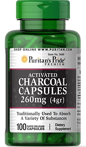 Puritan's Pride Charcoal (Activated) 260 mg-100 Capsules