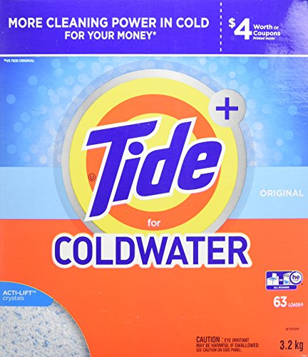 - Tide Plus HE Turbo Coldwater Powder Laundry Detergent, Original Scent, 3.2 kg (63 Loads)
