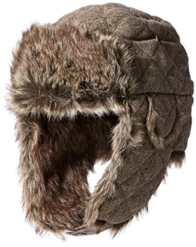 Quilted Fur Hat (Dockers Men's Quilted Donegal Trapper with Faux Fur Lining, Brown, Small/Medium)