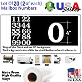 4'' White Color Custom Mailbox Numbers - Lot of 20 (2 of each number form 0 to 9) 4 inch tall, white Self Adhesive Vinyl Mailbox, Doors, Tool Box, Locker,Car,Truck,Address Decal Stickers (Bookman Bold)