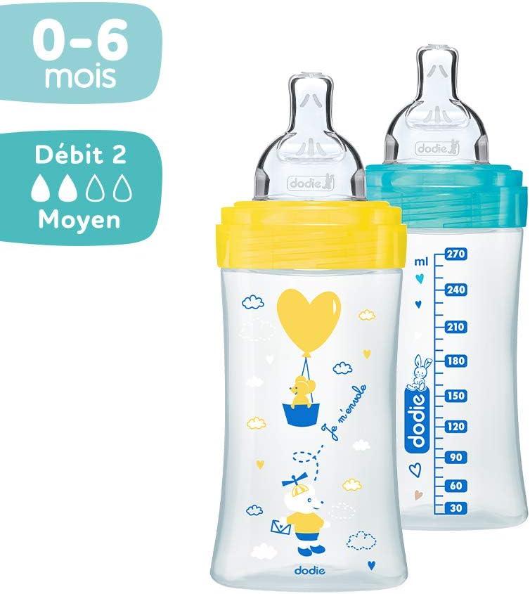270ml FUSHIA LOVE 0-6 mois t/étine plate d/ébit 2 DODIE 2 biberons anti colique Sensation
